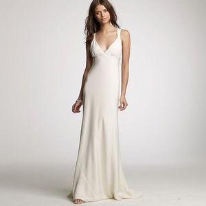 J. Crew Ivory Silk Gown Modern Wedding Dress Sz 16